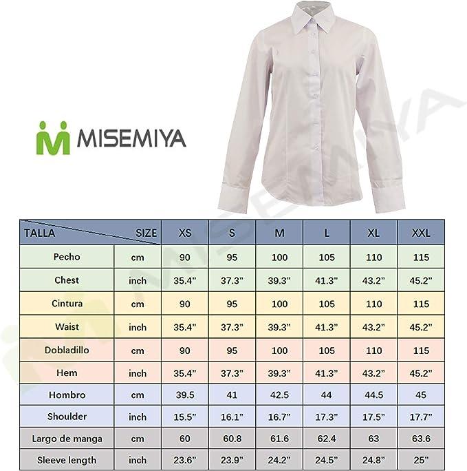 MISEMIYA - Camisa Uniforme Camarera SEÑORA con Mangas LARGAS MESERO DEPENDIENTA Barman COCTELERA PROMOTRORAS OFICCE Lady Blusa - Ref.826: Amazon.es: Ropa y accesorios