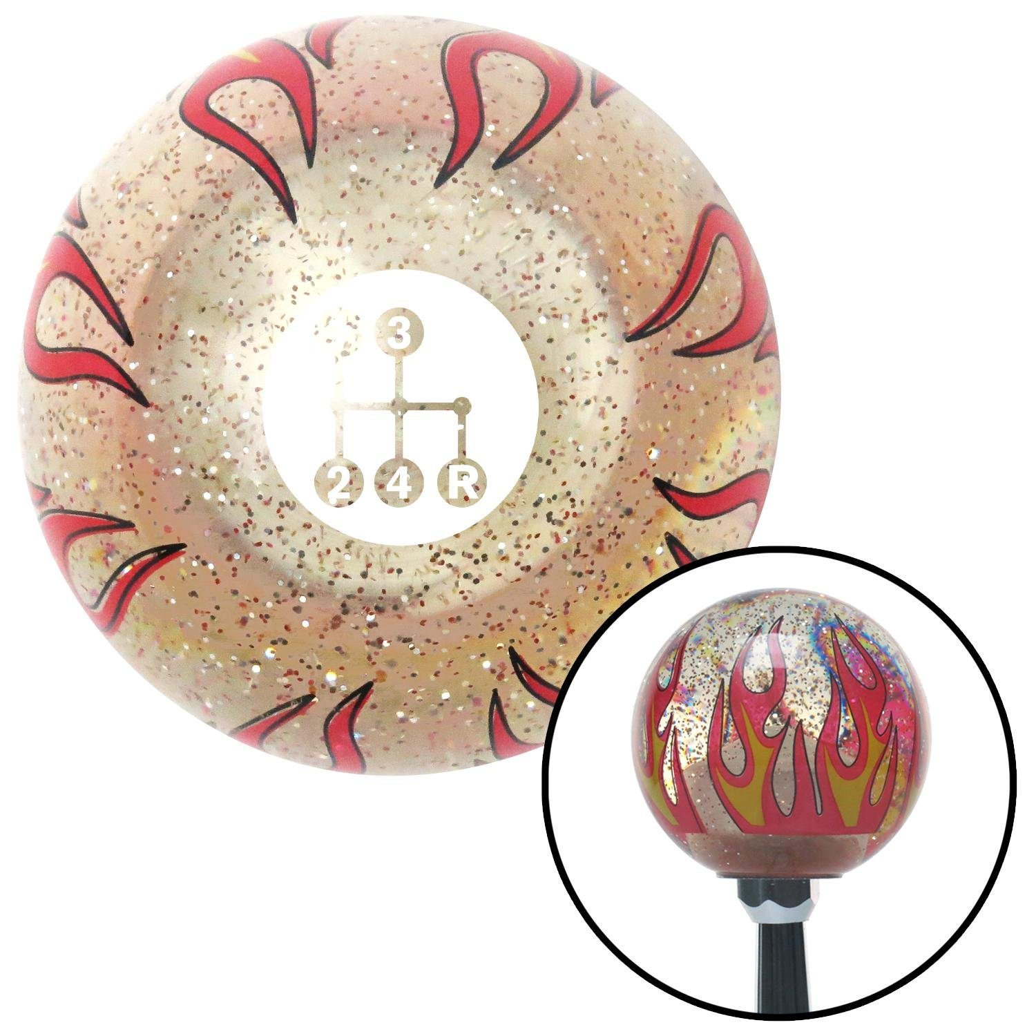 American Shifter 296027 Shift Knob White 4 Speed Shift Pattern - Dots 6 Clear Flame Metal Flake