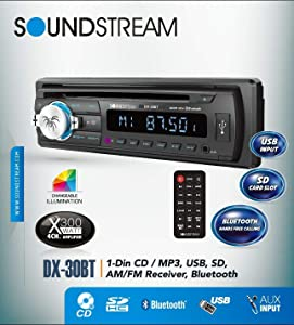 Soundstream DX30BT Built-in Bluetooth Car CD MP3 Player Multi Color Buttons USB AUX SD Card Inputs Single DIN Stereo Receiver Hands-Free Calling Music Streaming AM FM Radio Detachable Faceplate