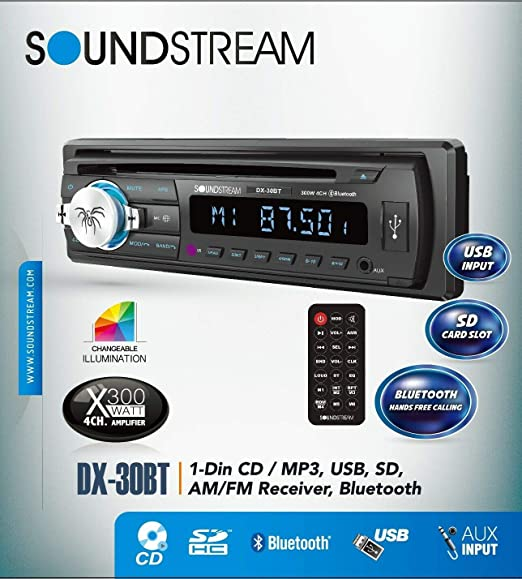 Soundstream DX30BT Built-in Bluetooth Car CD MP3 Player Multi Color Buttons  USB AUX SD Card Inputs Single DIN Stereo Receiver Hands-Free Calling Music