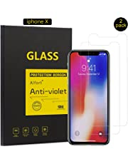 "[2 Pack] iPhone X Screen Protector, Alfort Premium Tempered Glass Screen Protector Film [Full Coverage] 0.3mm 9H Hardness Anti-Crack / Anti-Scratch / Bubble Free / Anti-Fingerprint Protective Film for iPhone X 6.3"" Smartphone [3D Touch Compatible][ Transparent ]"