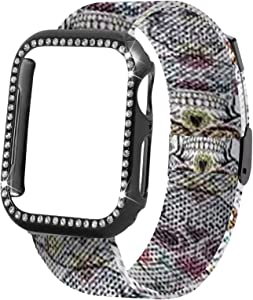 Stainless Steel Mesh Watch Bands - Breathable Soft Strap Metal Wristband Bracelet Replacement Bands 38mm 40mm 42mm 44mm Compatible with Apple Watch Milanese Strap,for Men and Women (Skull, 42/44)