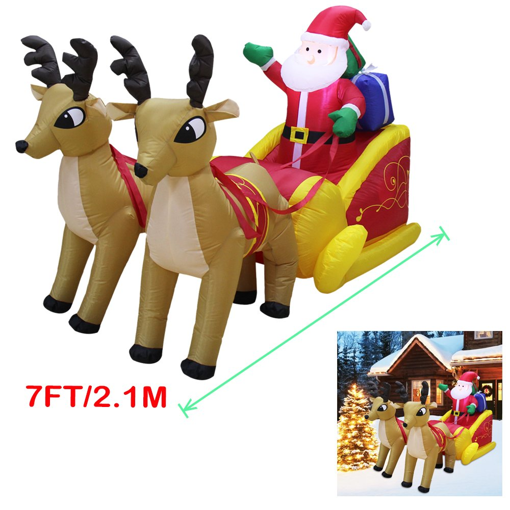 Yeahbeer Giant Inflatable Holiday Santa Reindeer Snowman with LED Light Portable Winter Xmas Blow Up Indoor and Outdoor Lawn Yard Scene Decorations (A- 7 Foot Santa on Sleigh) by Yeahbeer