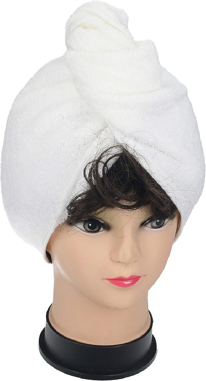 Betz Juego de 2 Piezas de turbantes Toalla para el Pelo 100/% algod/ón Tejido de Rizo de Color Blanco