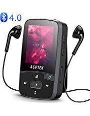 16GB Clip MP3 Player with Bluetooth 4.0, AGPTEK A50S Lossless Sound Music Player with Armband for Sports, Supports FM Radio Voice Recording & 128GB Expanding, Black