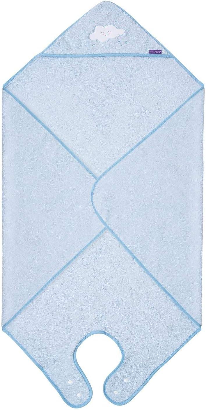 Clevamama Capa de Baño Bebé - Toalla Delantal con Capucha, Algodón - Azul