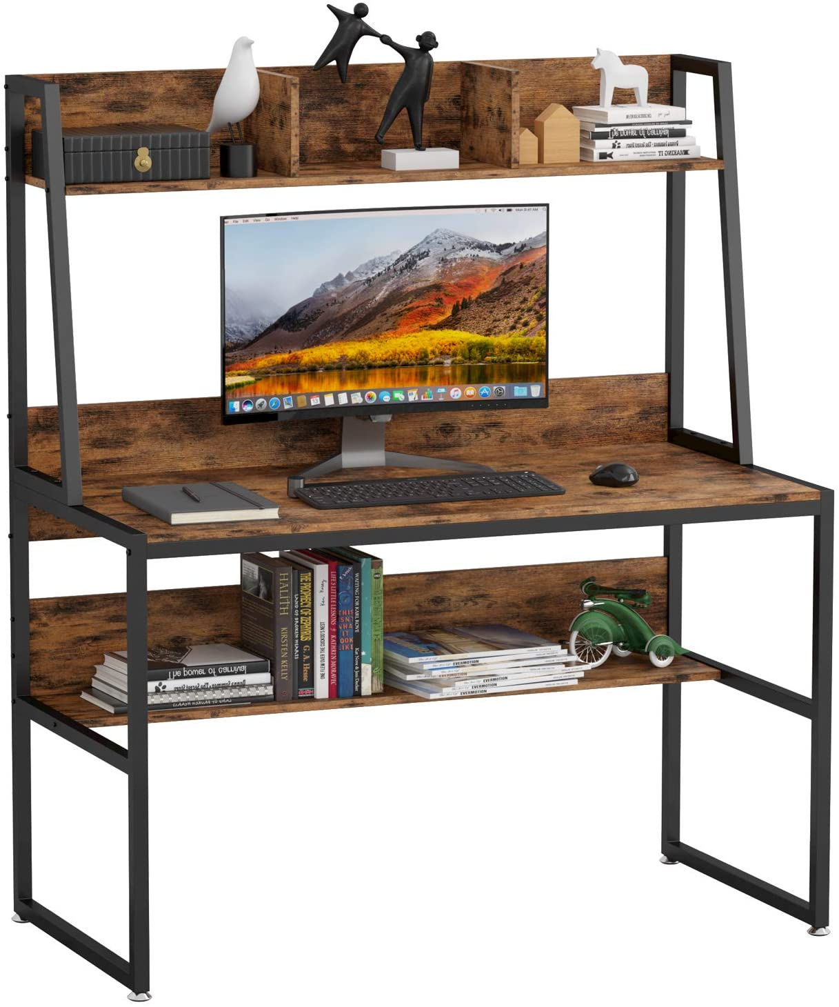 """IRONCK Computer Desk 47"""", Writing Study Table with Hutch and Storage Shelf,Space Saving Home Office Desk for Small Space, Metal and Wood, PC Laptop Workstation, Industrial Style, Vintage Brown"""