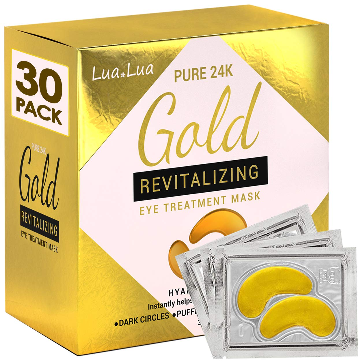 Cedlize Under Eye Collagen Patch, 24K GOLD ANTI-AGING MASK, Pads For Puffy Eyes & Bags, Dark Circles and Wrinkles, With Hyaluronic Acid, Hydrogel, Deep Moisturizing Improves Elasticity, 30 PAIRS: Beauty