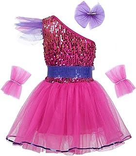 Tiaobug Ragazza Vestito da Balletto Bodysuit Principessa Leotard Dancewear Bambina Senza Manica Ginnastica Danza Tutu Elegante Ballo Competizione Abbigliamento Gonna