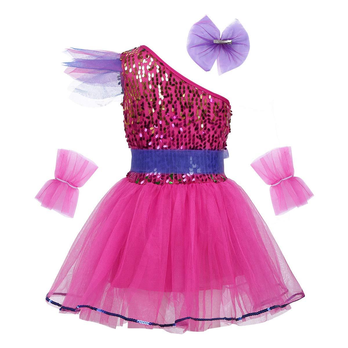 Agoky Kids Girls One Shoulder Sequins Ballet Dance Dress Performance Outfit for Modern Contemporary Jazz Dancewear Costume