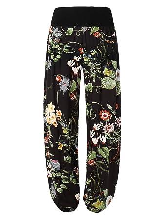 BaiShengGT - Femme Pantalon Bouffant Baggy Sarouels Poche a Bouton Noir- Fleur 2 S 0d7ac178997