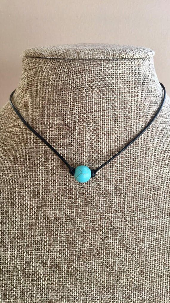 Turquoise Stone Bead Leather Necklace Choker