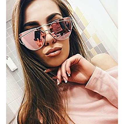 757bcd7b27 Image Unavailable. Image not available for. Color  Large Oversized Cat Eye  Sunglasses Metal Frame Flat Mirror Lens Women ...