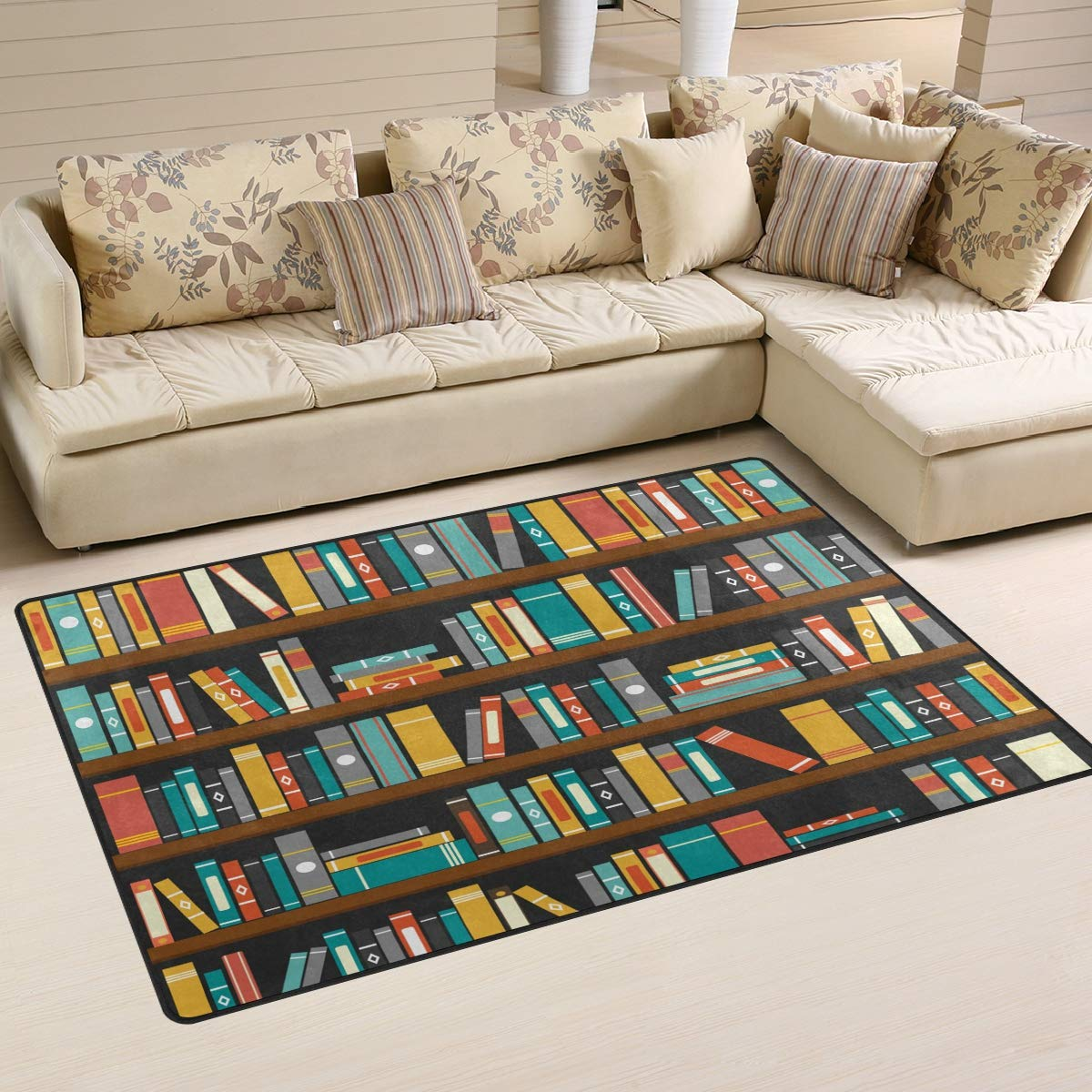XiangHeFu Area Rugs Doormats Library Book Shelf 5'x3'3 (60x39 Inches) Non-Slip Floor Mat Soft Carpet for Living Dining Bedroom Home