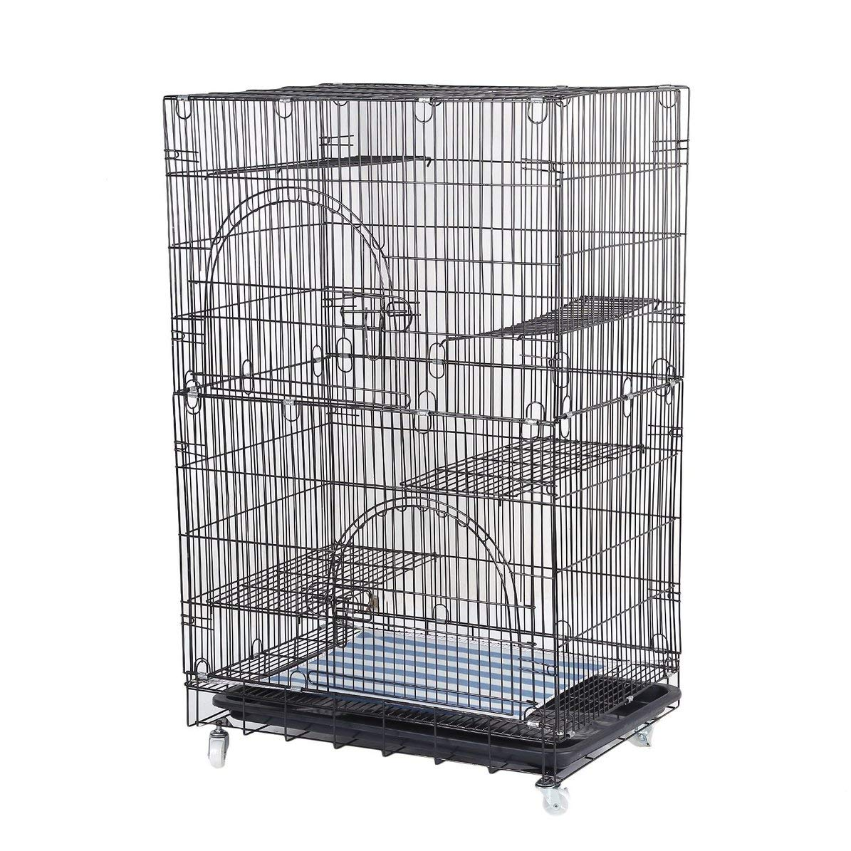Large Cat Pets Wire Cage 2-Tier Cat Playpen Cat Cage with 2 Climbing Ladders & 2 Rest Benches & Hammocks Cats Home by Dasny (Image #1)