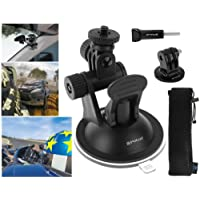 Suction Cup for GoPro, Puluz® - Window Mount, 2 Stage Pivot with TriPod Mount & Thumbscrew for Fusion HERO 6 HERO 5 HERO 4, 3, 2, 1 & Other Action Cameras