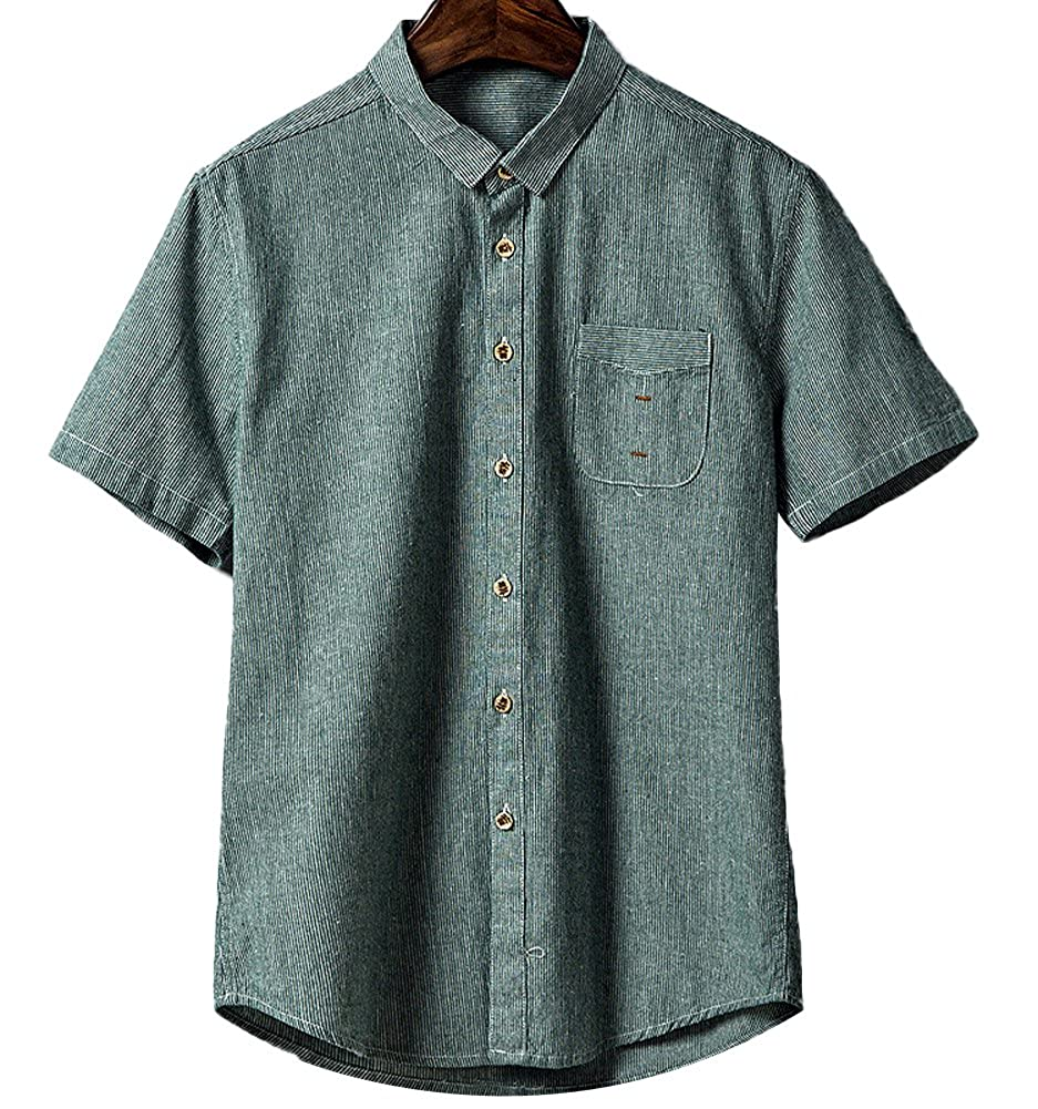 Dark Green SK Studio Studio Studio Short Sleeve Men's Slim Fit Shirts Casual Formal Fashion Solid 45c33a