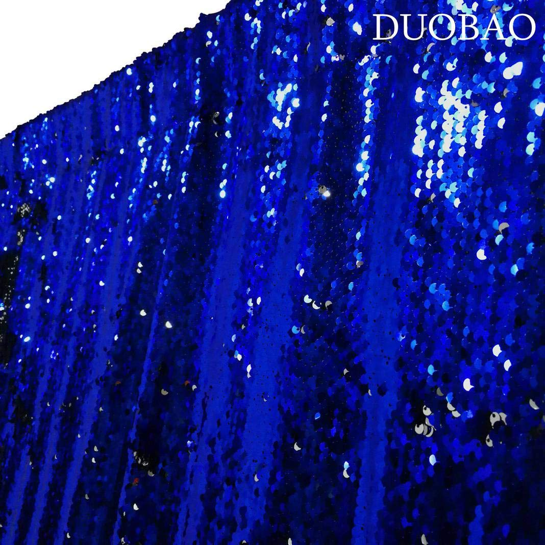 DUOBAO Sequin Backdrop 20FTx10FT Royal Blue to Silver Wedding Pics Backdrop Mermaid Reversible Sequin Photo Backdrop Baby Shower Curtains by DUOBAO (Image #1)