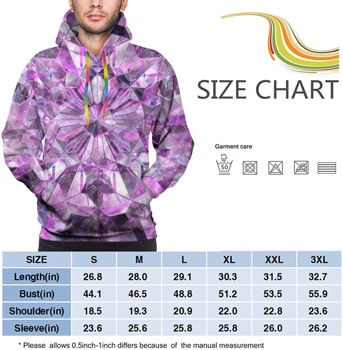 Crystal Texture Purple Mens Casual Drawstring Hoodies Pullover Hooded Shirts Warm Sweatshirt
