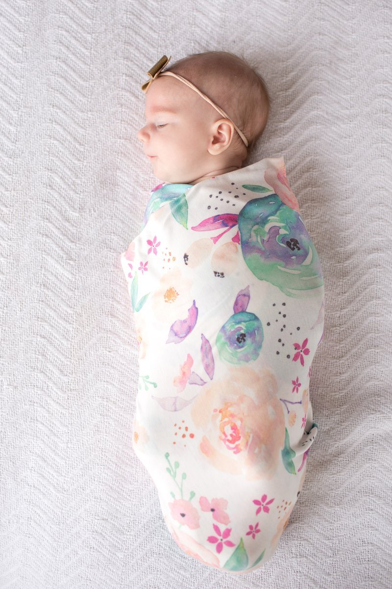 Large Premium Knit Baby Swaddle Receiving Blanket Floral