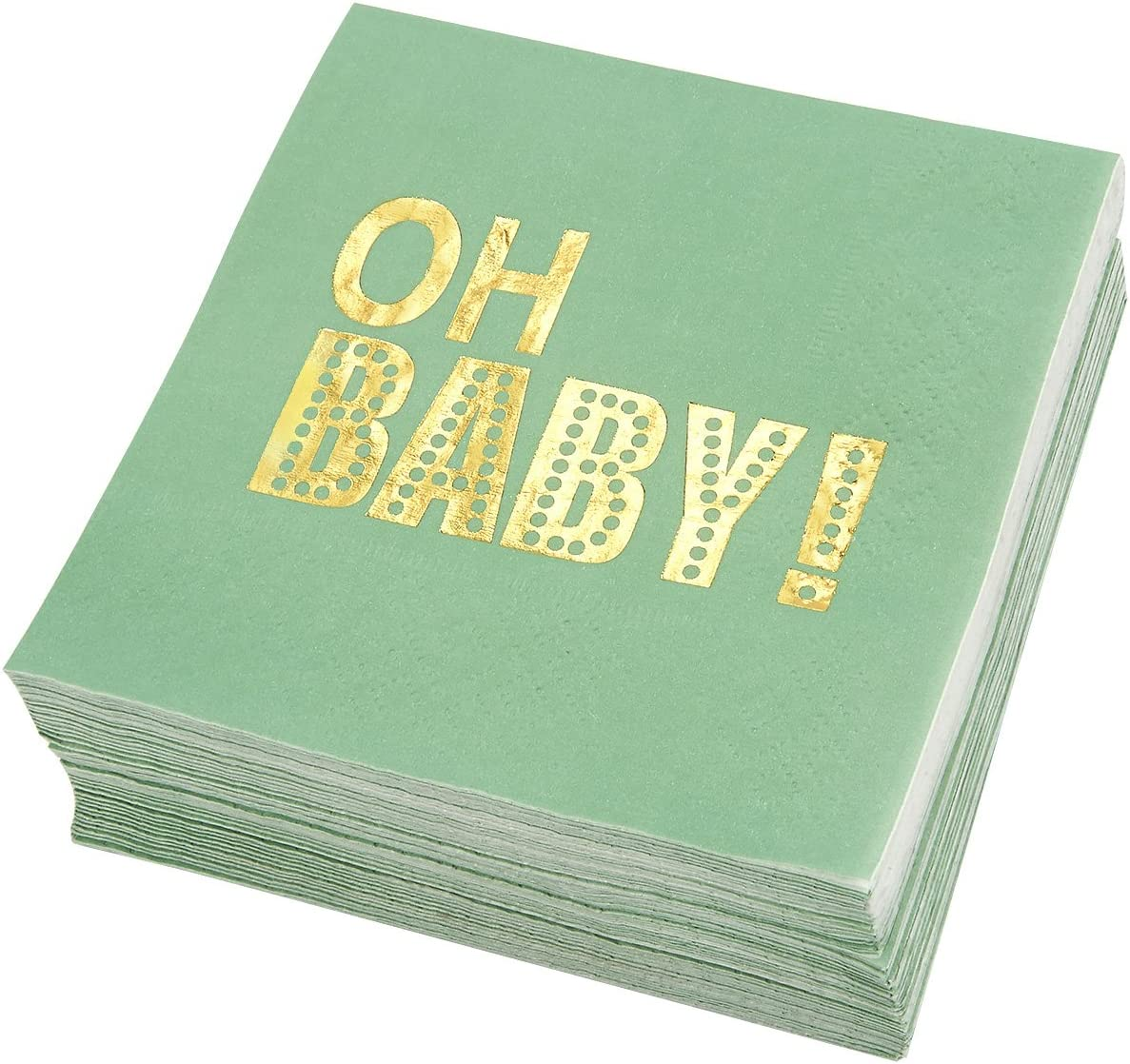 Baby Shower Party Supplies, Cocktail Napkins (5 x 5 In, Green, 50-Pack)