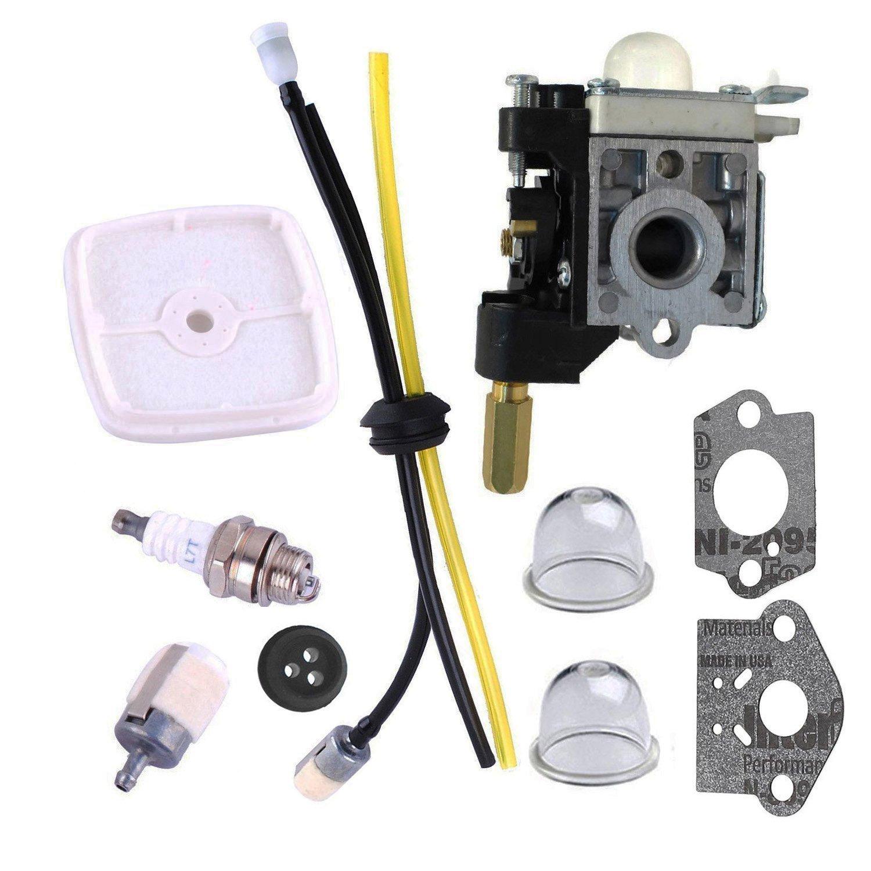Podoy SRM210 Carburetor for ECHO Trimmer Parts PE200 Carb Fuel Line Kit Tune Up Primer Bulb Grommet Weed Eater GT200 SRM 210 PE 200 HC150 SRM211 GT200