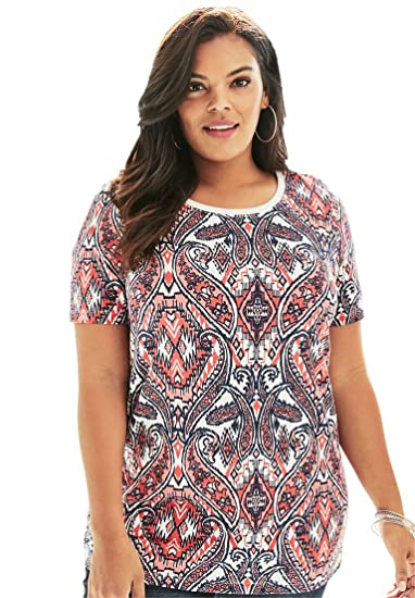 c5b9897e590 Roamans Women s Plus Size Ultimate Printed Crewneck Tee at Amazon Women s  Clothing store