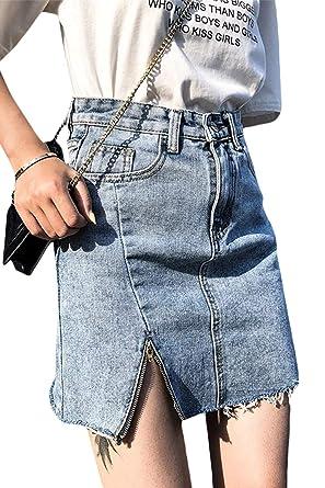 Las Mujeres Denim De Cintura Alta Faldas De Aline Vestido Casual ...