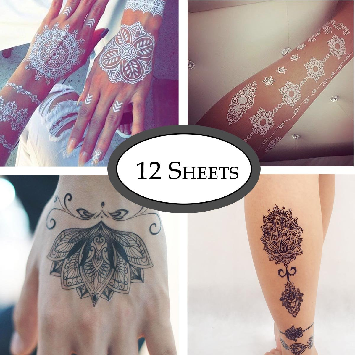 COKOHAPPY 12 Sheets Black and White Lace Temporary Tattoo Dream Cathcher Mandala Lotus Crown for Women Girls