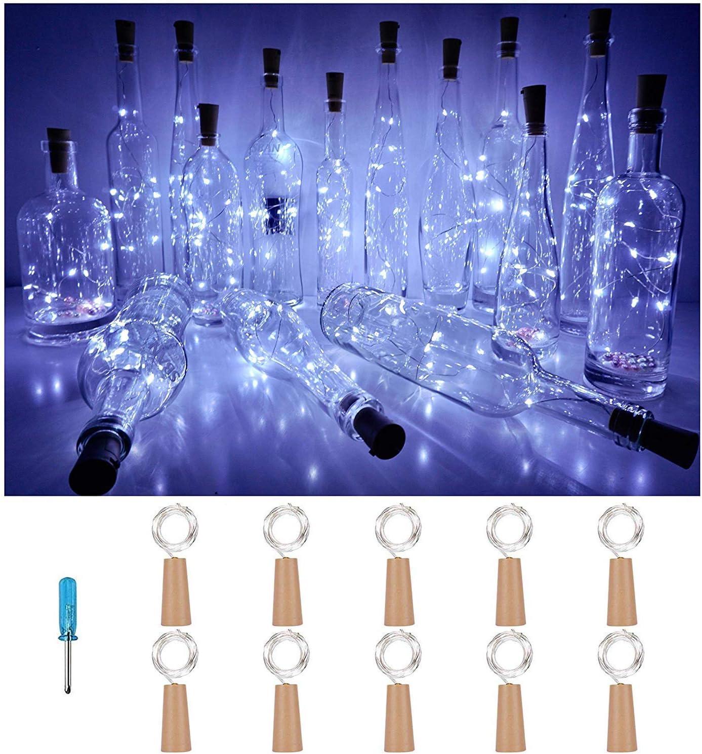 VIPMOON 10pcs llevó las luces de corcho de la botella, 2m 20LEDS Hada botella de vino Cadena de luz Mini alambre de cobre,luces estrelladas con pilas para bricolaje Navidad Halloween Fiesta- Blanco