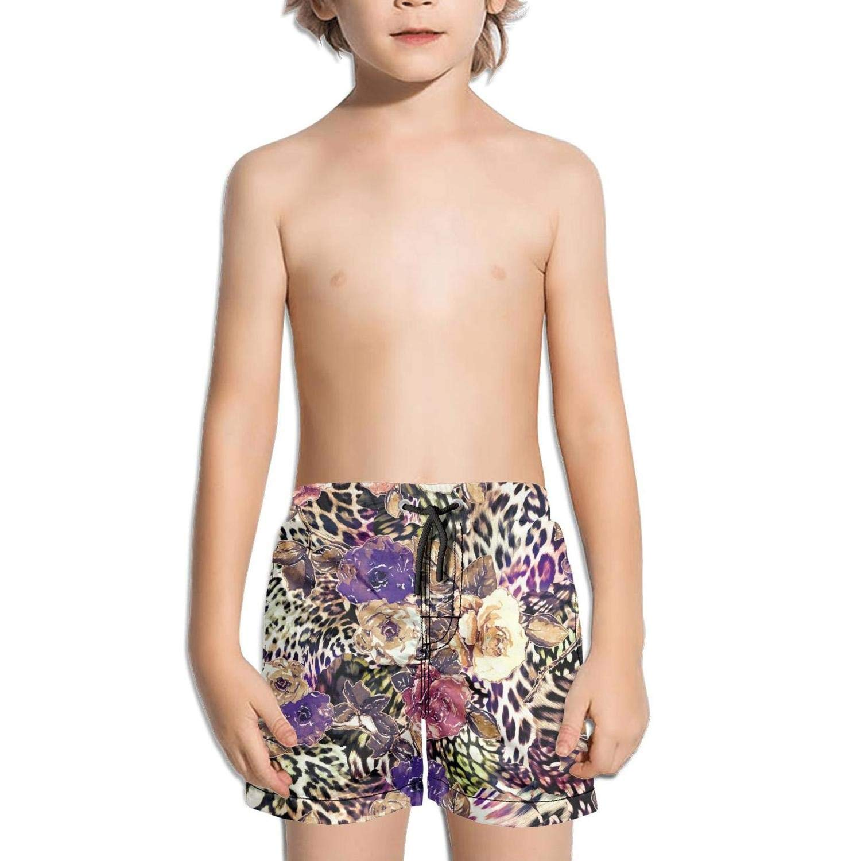 Little Boys Short Swim Trunks Quick Dry Beach Shorts FullBo Leopard Faces Brown Leopard Pattern