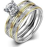 Women Engagement Rings Set, Stainless Steel Cubic Zirconia Promise Wedding Rings Size 6-9 Herinos