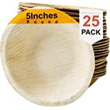 Simply Greenware Palm Leaf Bowls - 5 Inch Round - 25 Count. Sturdy & Premium Quality - 100% Compostable Disposable…