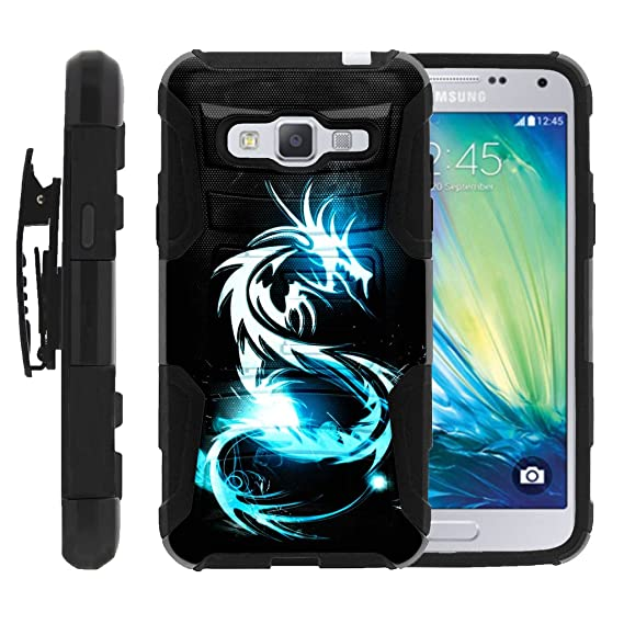 best service 7d39f 0c00c MINITURTLE Case Compatible w/ Samsung Galaxy J3 Case, Cover Rugged Armor  Impact Stand Case w/ Customized Designs White Dragon