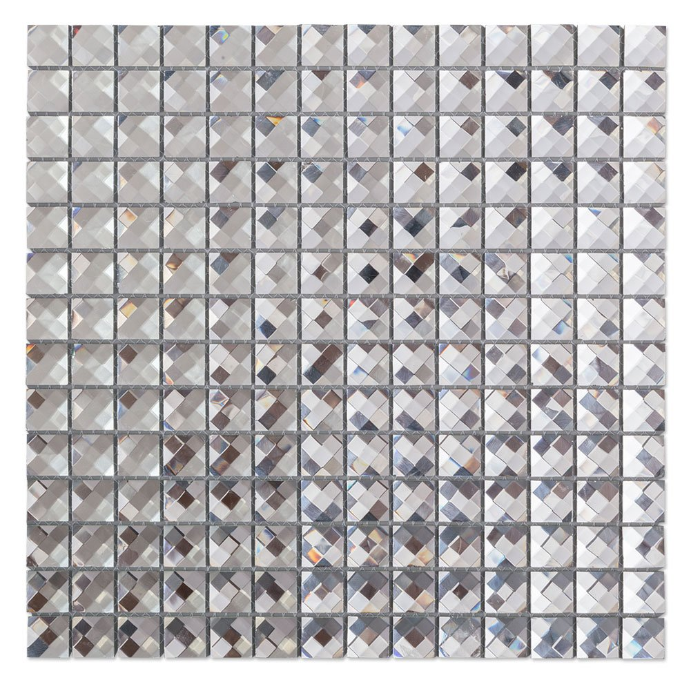 Diflart Mirror Glass Mosaic Tile Crystal Diamond Mosaic Tile 3/4 inch Pack of 5(Silver)