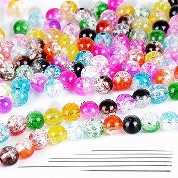 D 500x Glasperlen Bunt Gemischt 8mm Schmuck Basteln Perlen Glas Bunt DIY