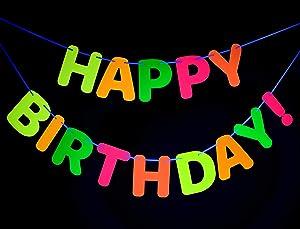 Midnight Glo Neon Happy Birthday Banner Decoration Black Light Reactive UV Glow Birthday Party