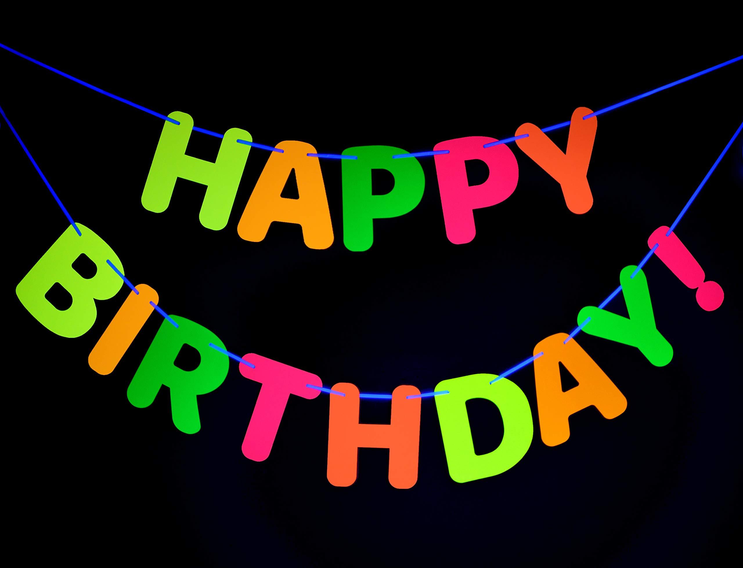 Willbond 3 Pieces Neon Happy Birthday Banner Black Light Circle Dots Banner Star