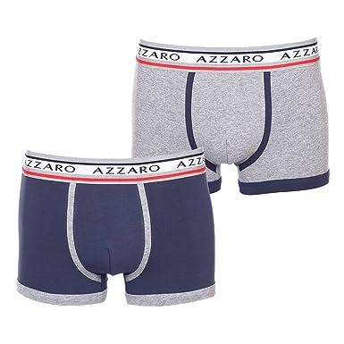46b6c2b820068 AZZARO Lot de 2 Boxers en Coton Stretch Gris chiné et Bleu Marine ...
