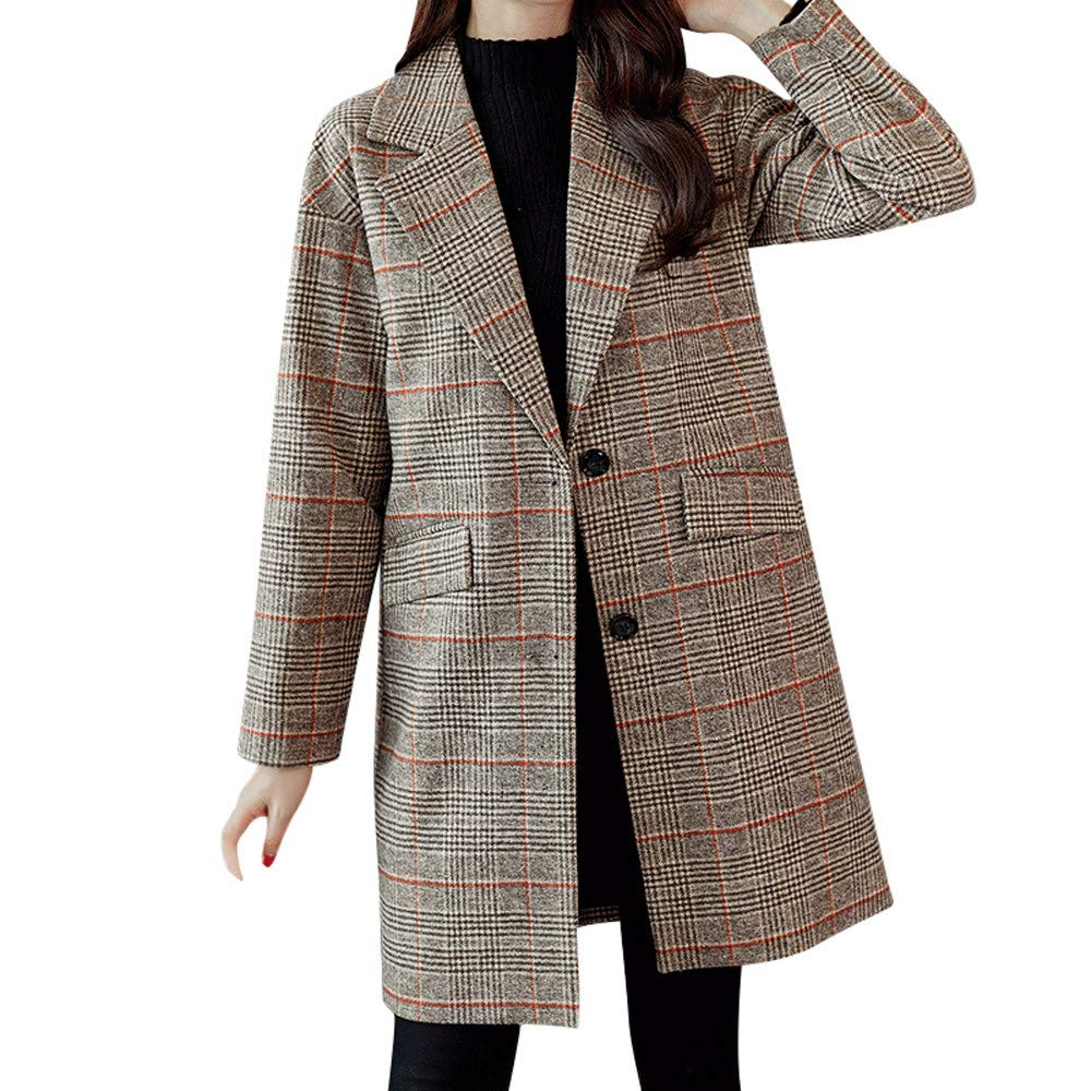 Jinjiums Women Coat, Plaid Vintage Woolen Lapel Long Sleeve Longline Coat Notched Lapel Button Closure Coat
