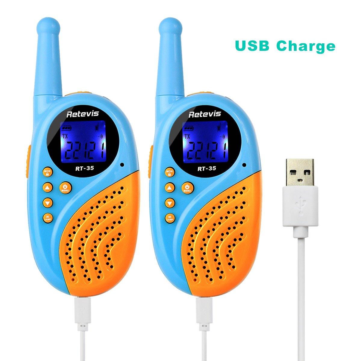 Retevis RT35 Kids Walkie Talkies USB License-Free Digital Alarm Clock 2 Way Radio(Blue, 4 Pack) by Retevis (Image #9)
