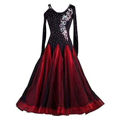 e4eb42783 Amazon.com: YC WELL Ballroom Dance Dresses Rhinestone Competition Dresses  Modern Waltz Tango Smooth Ballroom Dance Costumes for Women: Clothing