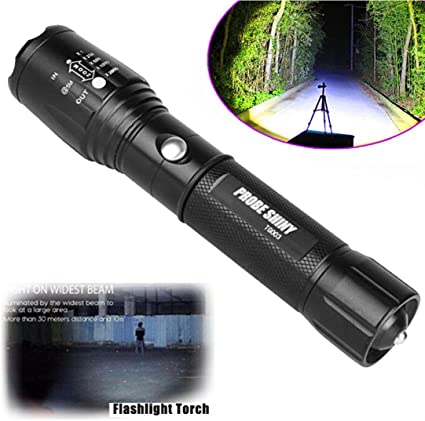 Tactical 4000LM Zoomable  LED 5 Mode Police Flashlight Lamp Torch Camping Hiking