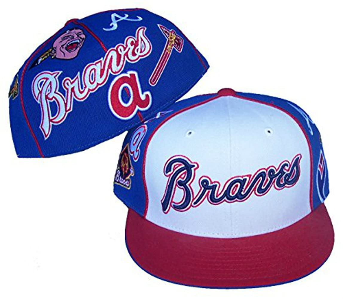 Genuine Merchandise Atlanta Braves Fitted Size 7 7//8 Tri Tone Multi Logo Hat Cap