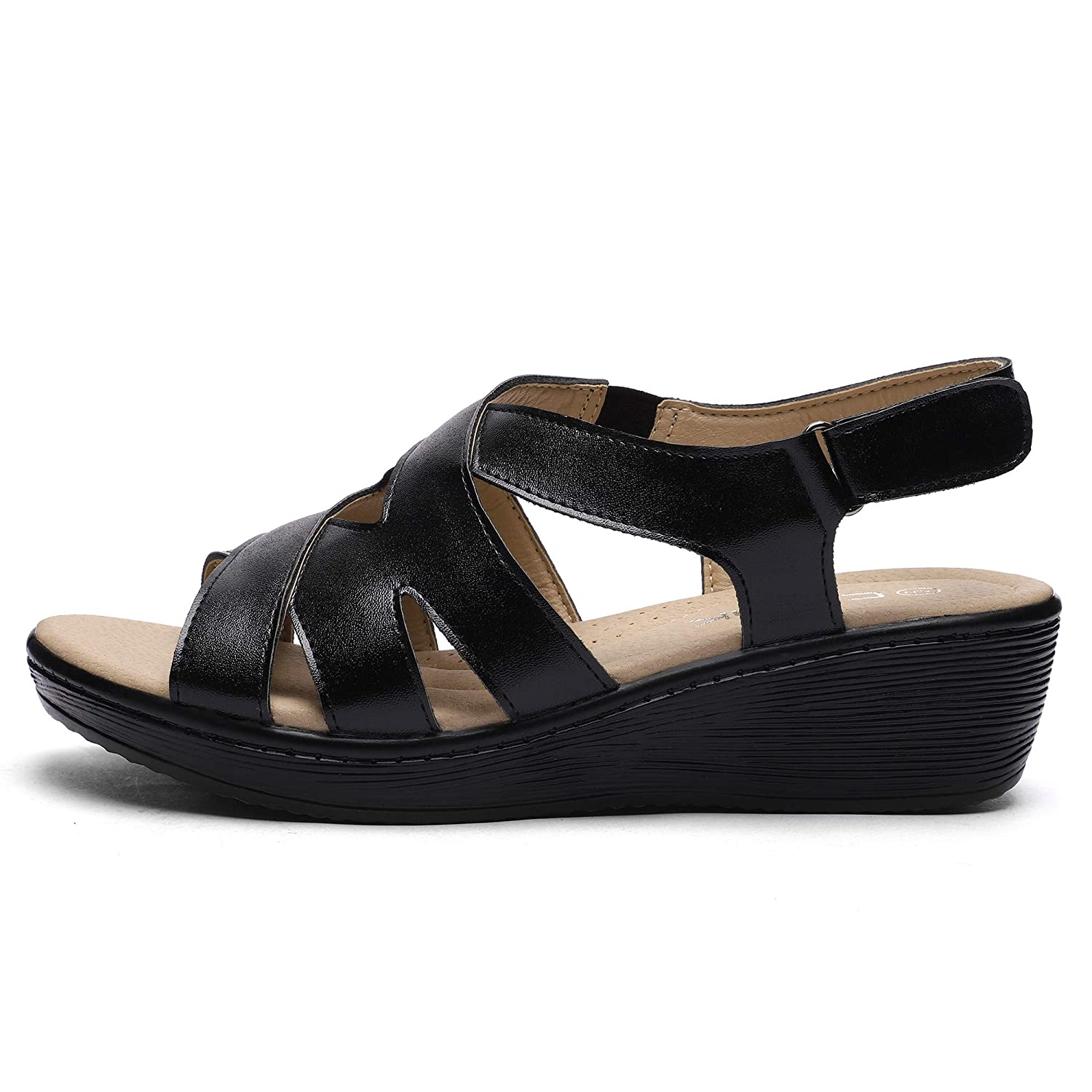 2fb53b8fd0 Amazon.com | CINAK Womens Wedge Sandals Velcro Shoes-Comfort Platform Hook  and Loop Summer Flats Ladies Slip On | Platforms & Wedges