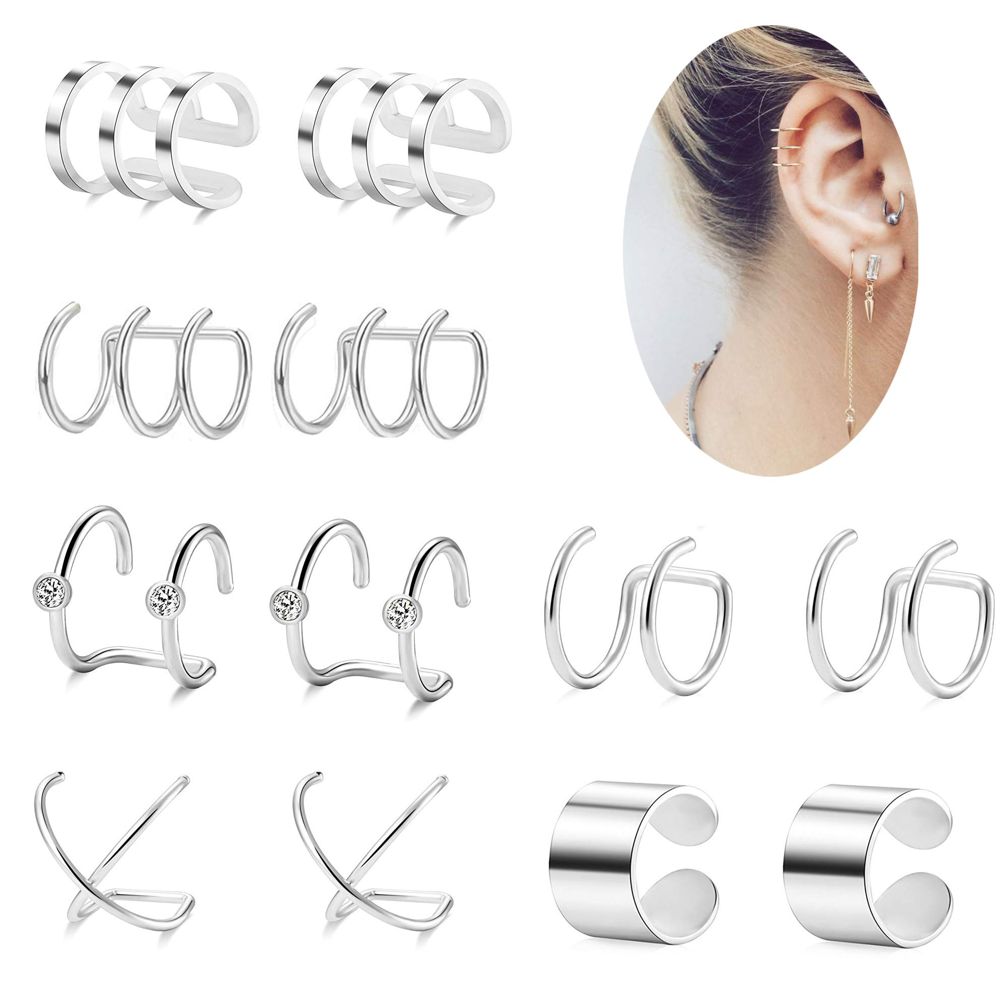 Besteel 6 Pairs Ear Cuffs Earrings for Women Girls Non-piercing Fake Cartilage Earring Sliver-tone