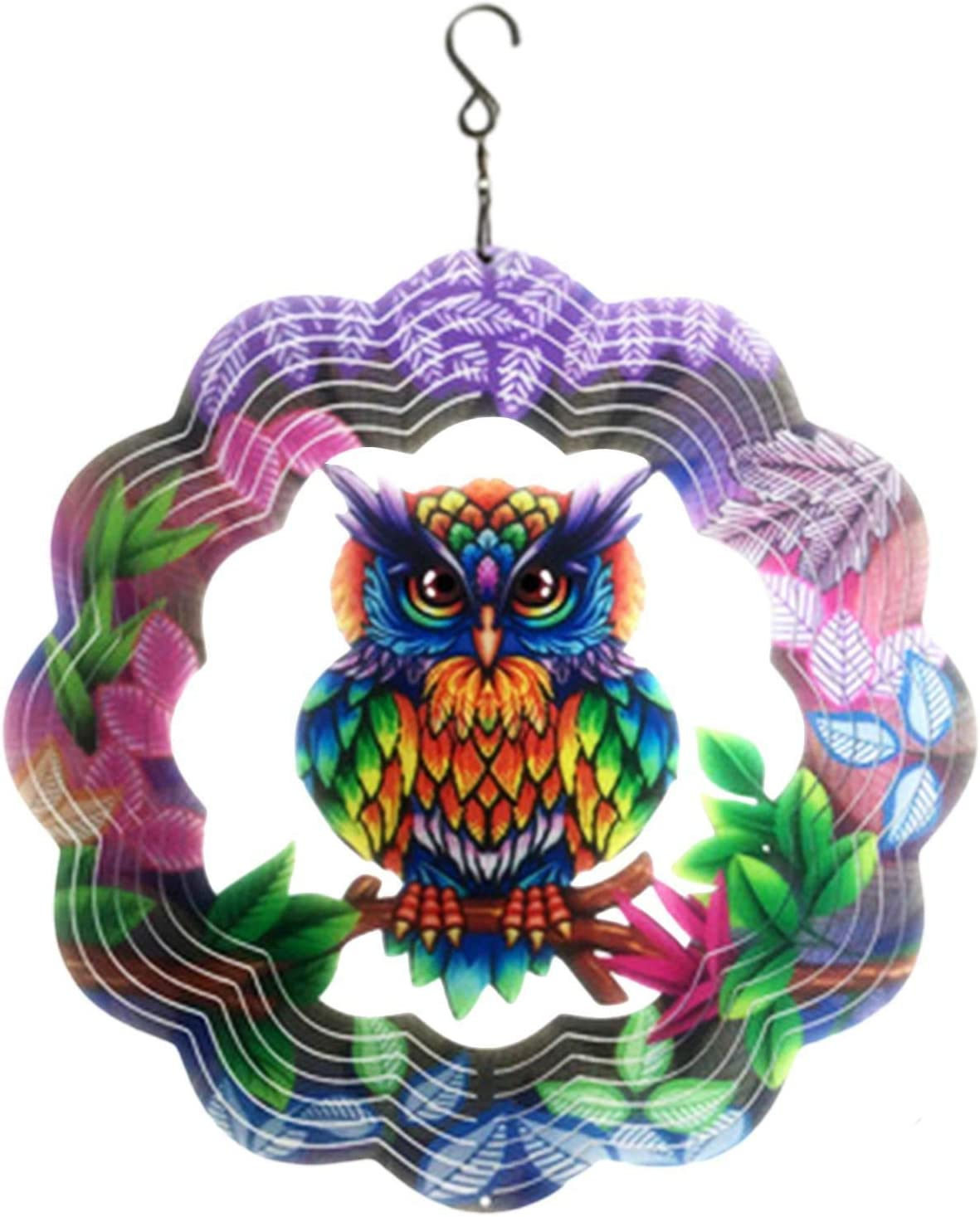HEYJUDY Metal Wind Spinner Outdoor Garden Decoration Yard Decor 3D Stainless Steel Metal Sculptures Owl Kinetic Hanging Whirligig Decorations Backyard Outside Indoor Outdoor Patio and Lawn Ornaments