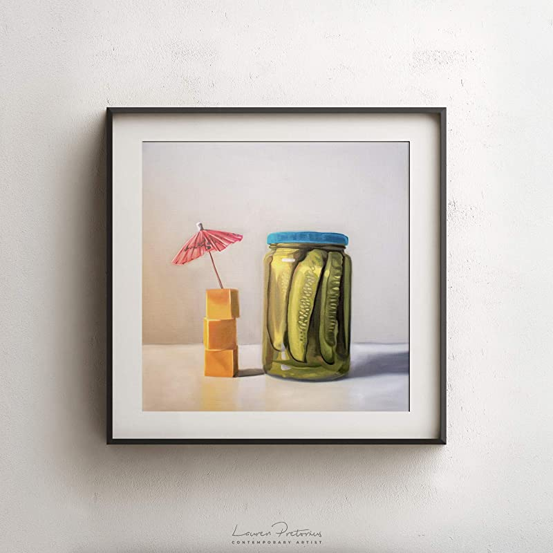 Glass Jar of Pickles Oil Painting Archival Giclee Print Poster Wall Art