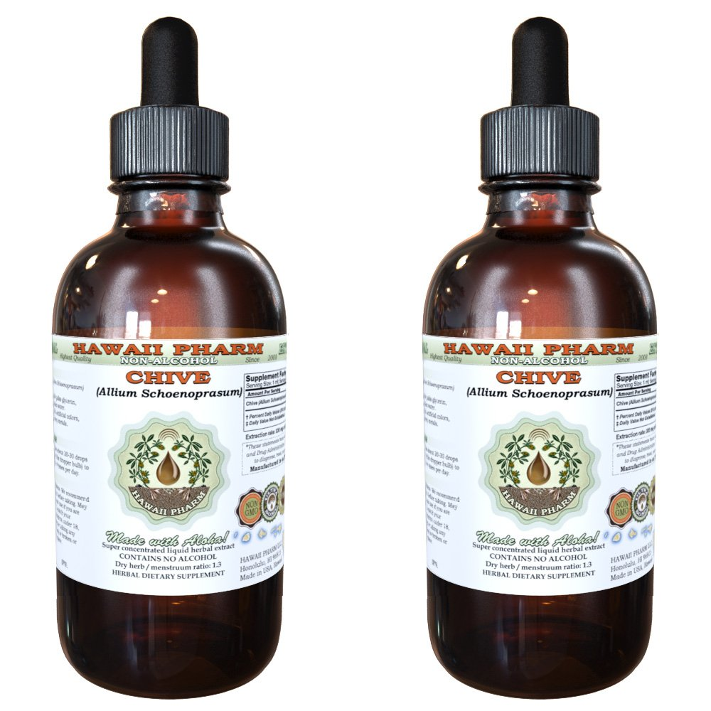 Chive Alcohol-FREE Liquid Extract, Organic Chive (Allium Schoenoprasum) Dried Rings Glycerite Herbal Supplement 2x2 oz