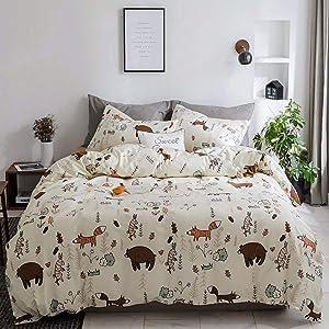 Wellboo Bear Duvet Covers Cartoon Animals Fox Rabbit Bedding Sets Boys Girls White Yellow Comforter Covers Twin Cotton Soft Health Duvet Covers Kids Bedding Sets Forest 2 Pillowcases No Comforter